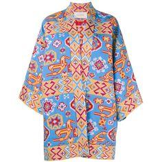 Valentino Indian Couture Kimono Jacket (€5.895) found on Polyvore featuring outerwear, jackets, multicolour, print kimono, tribal kimono, pattern jacket, valentino jacket and indian jacket