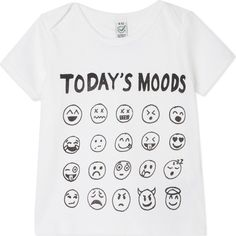 BLACK SCORE Today's mood emoji t-shirt 0-12 months (48 CAD) ❤ liked on Polyvore featuring tops, t-shirts, white, cotton tee, white cotton t shirts, white tops, white cotton tee and short sleeve cotton tops