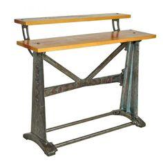 Double Deck  Aparador industrial base em ferro fundido, proveniente antiga maquina de tecelagem Coppo com 2 tampos em madeira maciça. Peça única.