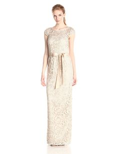 Cap Sleeve Long Lace Dress by Adrianna Papell