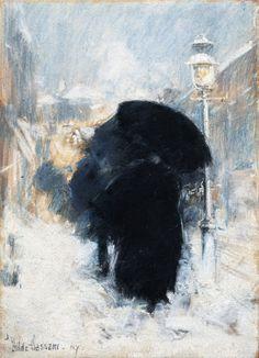 Childe Hassam - A New York Blizzard, 1890, Pastel on paper, 35 x 24 cm, Gardner Museum, Boston
