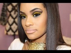 Dramatic Summer Makeup Tutorial - Yellow Cut Crease with POP of Blue