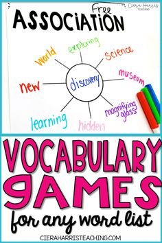 Vocabulary games for kids are a great way to engage students in any elementary classroom! Click the pin to check out these fun games for any word list, perfect for kindergarten, first grade, or even or grade. Vocabulary Games For Kids, Word Games For Kids, Vocabulary Instruction, Academic Vocabulary, Vocabulary Practice, Vocabulary Building, Vocabulary Words, Fun Games, Teaching Vocabulary Strategies