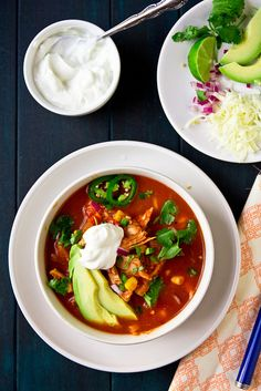 Texas Chicken Tortilla Soup Recipe on Yummly. Mexican Food Recipes, Soup Recipes, Vegetarian Recipes, Healthy Recipes, Healthy Chips, Recipies, Mexican Desserts, Freezer Recipes, Mexican Dishes