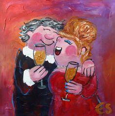Acryl painting 60x60 cm (dikke dames schilderij) Art by Esther Gemser www.esthergemser.com