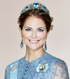 Madeleine of Sweden wearing the family's Aquamarine Kokoshnik.