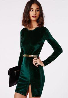 Get into the party spirit with our lush dark green velvet bodycon mini dress
