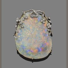 An opal and diamond brooch. It's my birthstone. The opal is incredible & I… Art Nouveau, Antique Jewelry, Vintage Jewelry, My Birthstone, Diamond Brooch, Violet, Gemstone Jewelry, Jewelry Accessories, Fine Jewelry