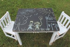 CHILDS CHALKBOARD TABLE FROM VINTAGE VISION FURNITURE IN HUDSON, NC.  SEE MORE AT:  http://www.facebook.com/vintagevisionstore