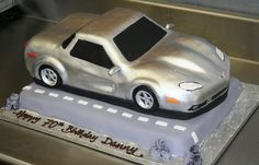 Silver @chevrolet corvette Car Cake