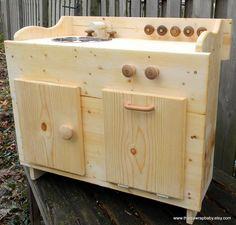 Wooden Play Kitchen Waldorf Montessori. $250.00, via Etsy.