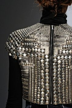 Metallic beaded top with structured pattern; embellished armour fashion detail // Holly Fulton Fall 2012
