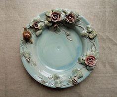 Leichte blaue Steinzeug  MADE TO ORDER  der Rosenstrauch und