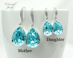 Mother and Daughter Earrings Teal Blue Teardrop Earring Swarovski Crystal Light Turquoise Bridal Earring Hypoallergenic Tiffany Blue Wedding