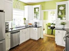 Green Walls And White Kitchen Cabinet Paint Colors In Calming Kitchen Design