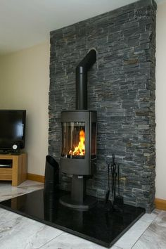 This 5 Bed Detached House For Sale Is Located At 46 Cavehill Lane, Banbridge. Wood Stove Surround, Wood Stove Hearth, Wood Burner Fireplace, Slate Fireplace, Fireplace Hearth, Home Fireplace, Modern Fireplace, Fireplace Design, Fireplaces