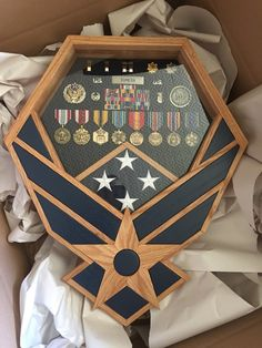 Air Force Shadow Box - Falcon with Oak & Blue Inlays - Retirement Retirement Parties, Retirement Gifts, Military Retirement, Retirement Ideas, Bachelor Pad Decor, Flag Display Case, Air Force Gifts, Military Shadow Box, Hand To Hand Combat