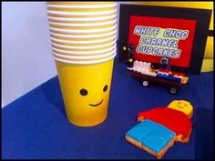 A black marker is all you need to make dollar store bought yellow cups Lego themed.