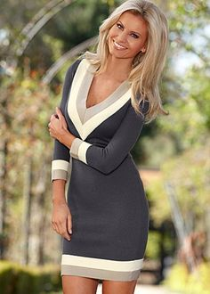 Contrast trim sweater dress from VENUS women's swimwear and sexy clothing. Order Contrast trim sweater dress for women from the online catalog or Autumn Look, Fall Looks, Fall Winter, Dress Outfits, Fall Outfits, Cute Outfits, Sweater Dresses, Venus Clothing, Women's Clothing