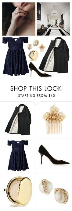 """""""102. Winter formal"""" by wednesday12 ❤ liked on Polyvore featuring Miriam Haskell, Ginger Fizz, Jimmy Choo, Estée Lauder, Kate Spade, Prom, Winter, Blue, party and formal"""