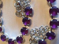 Ebay: Made with SWAROVSKI CRYSTAL NECKLACE- Silver Jewelry with FROSTED AMETHYST ! #Swarovski #Sabika