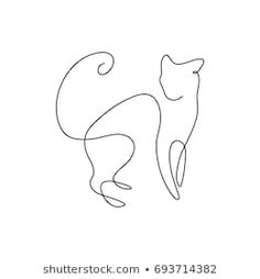 A line design silhouette of wild cat drawn hand drawn minimalism style.vector illust … – A line design silhouette of hand drawn wild cat minimalism style. Cat Outline, Outline Drawings, Easy Drawings, Outline Images, Single Line Drawing, Continuous Line Drawing, Line Art Tattoos, Small Tattoos, Line Design
