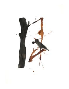 Bird, abstract - India ink and shellac-based ink on watercolour paper India Ink, Shellac, Watercolor Paper, Bird, Abstract, Movie Posters, Summary, Arches Watercolor Paper, Birds