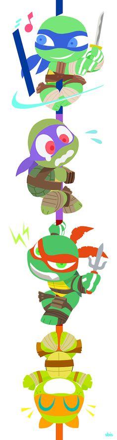 Tortugas Ninja- (Estoy segura que a Samuel le gusta mucho esta ilustración). Está divertida