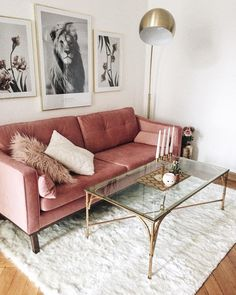 I love the textural details of the velvet couch and shag rug contrasted with the elegance of the gold lamp and table and picture frames. The fairly neutral pallet makes the textures pop without being overwhelming.