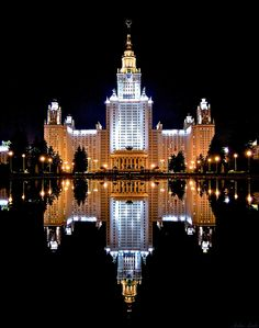 Moscow State University, the darkness makes the building more defined.
