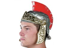 ROMAN HELMET - Caesar's guards come to life with these bold helmets! Sturdy plastic. Hats fit most kids & adults.