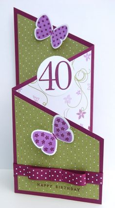 Butterfly trifold card.  All paper on sample is SU.