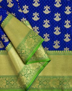 Royal Blue Banarasi Zari Work With Border Satin Fabric Katan Saree, Banaras Sarees, Silk Cotton Sarees, Indian Textiles, Saree Dress, Saree Collection, Sketchers, Satin Fabric, Designing Women