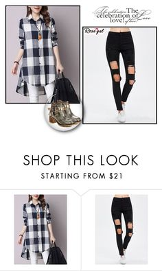 """""""Asymmetrical Button-Down Pocket Design Plaid Shirt"""" by minka-989 ❤ liked on Polyvore featuring rosegal"""