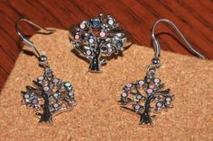 fire opal earrings ring 8 set gemstone silver jewelry cocktail Tree of Life