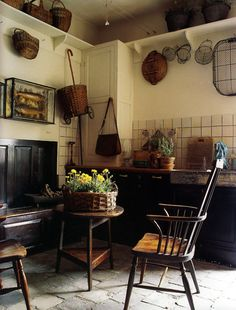 old farmhouse kitchen with stone floor