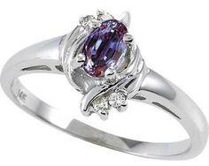 Tommaso Design™ Simulated Alexandrite And Genuine Diamond Ring