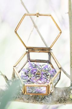 geometric ring box with flowers inside