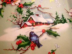 Blue Bird Christmas scene
