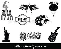 July 4th Independence Day Silhouette Vector Decorations Vector Design, Vector Art, Graphic Design, Silhouette Clip Art, Famous Landmarks, Happy 4 Of July, Independence Day, 4th Of July, Decorations
