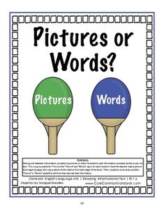This RI.1.6 First Grade Common Core Pack includes the following: *1 RI.1.6 Common Core Poster *2 RI.1.6 Common Core Worksheets *1 RI.1.6 Activity Center - Distinguish between information provided by pictures or other illustrations and information provided by the words in a text.