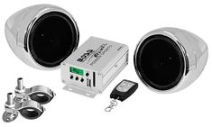 Boss Audio Chrome 600 watt Motorcycle/ATV Sound System with Built-in FM Tuner with One Pair of 3 Inch Weather Proof Speakers, Aux Input and Volume Control, Silver Boss Audio, Car Audio, Speaker System, Audio System, Derby, Technology Gifts, Usb, Waterproof Speaker, Bluetooth Speakers