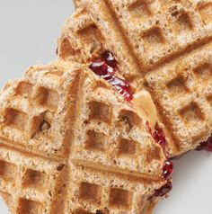 Now here's a fun idea! Make a Toasted PB&J Sandwich in your waffle iron! The kids will love them!