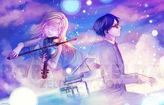 """Kousei & Koari (Your Lie in April). """"Ballade"""" by zeldacw. Source: http://zeldacw.deviantart.com/"""