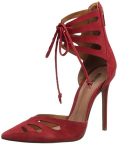 Schutz Women's Nadely Dress Pump,Red/PapaGallo,6 M US. Pointed-toe d'Orsay style featuring cutout silhouette and pencil-thin laces at ankle wrap. Zip entry.