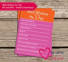 Well Wishes for the Mr and Mrs Bridal Shower Game #printable #wedding
