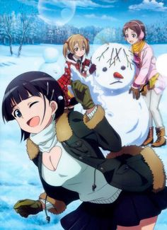 Sugu, Keiko and Rika out in the snow Arte Online, Online Art, Leafa Sword Art Online, Leafa Sao, Sword Art Online Wallpaper, Online Anime, Anime Kunst, Anime People, Christen