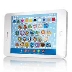 """Talking tablet teaches numbers, letters, colors and spelling so your little one can master their word-recognition skills. Ages 2 and up. Uses 3 AA batteries (not included). 7 3/4"""" L x 5"""" W. Plastic, electronics. Imported."""