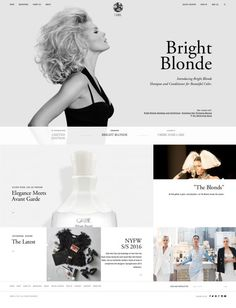 Combining over 30 years of styling heritage at the top of the editorial and salon worlds with old-world craftsmanship an - Best Webdesign inspiration on www.niceoneilike.com #Product, #Shop, #html5, #css3, #jQuery, #Inspiration, #Award, #Website Ux Design, Graphic Design, Digital Web, Bright Blonde, Web Design Inspiration, Cool Websites, User Interface, 30 Years, Minimalist Design