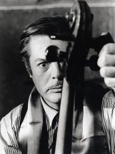 """Marcello Mastrioanni as G. Mastorna, on the set of the unrealized Fellini's film, """"Il Viaggio di G. Mastorna detto Fernet', 1965 by Tazio Secchiaroli"""